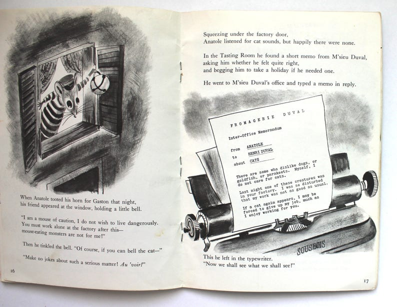 1957 anatole and the cat by eve titus vintage softcover etsy