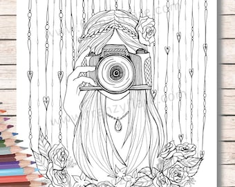 Coloring Pages For Adults Or Kids Girl With Camera Etsy