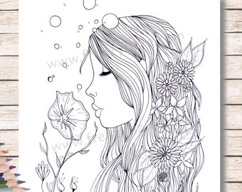 Coloring Pages for Adults or kids. Fairy Mermaid with Flowers to Color with Pencils or Markers. Digistamp. Digital Download. Printable
