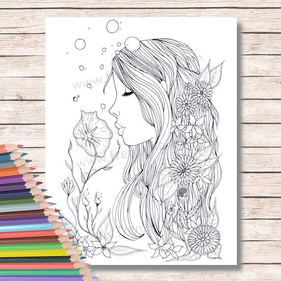 Para colorear páginas para adultos o niños. Sirena hada con | Etsy