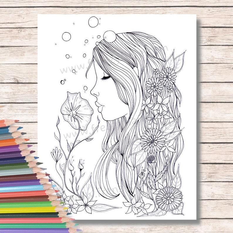 Pages Imprimées Coloriage Pour Adultes Ou Enfants Fée Sirène Etsy
