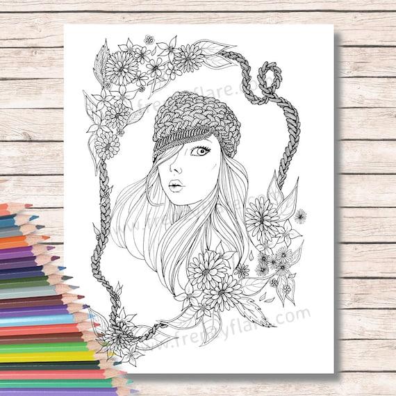 Para colorear páginas para adultos o niños. Hermosa chica con | Etsy