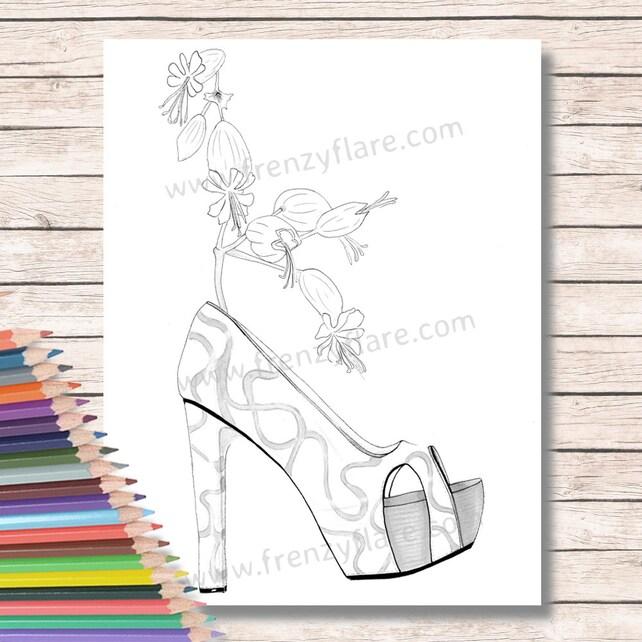 Para colorear páginas para adultos o niños. Tacones con flores | Etsy