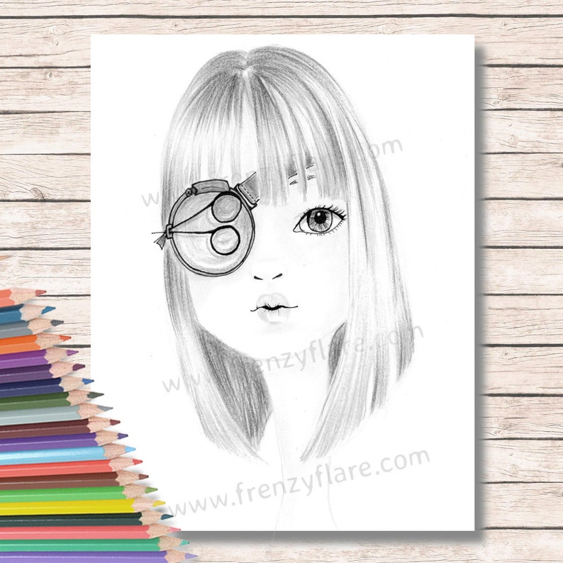 Malvorlagen Für Erwachsene Oder Kinder Nerdy Girl Mit Einem Monokel Farbe Mit Stifte Marker Oder Aquarelle Puppe Gesicht Wandkunst Zum