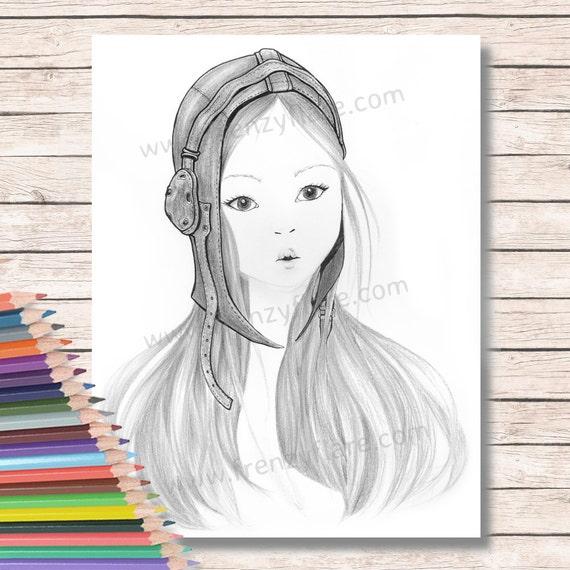 Para colorear páginas para adultos o niños. Muchacha con | Etsy