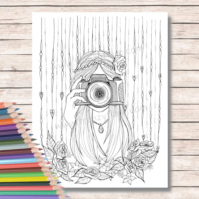 Para colorear páginas para adultos o niños. Chica con cámara | Etsy