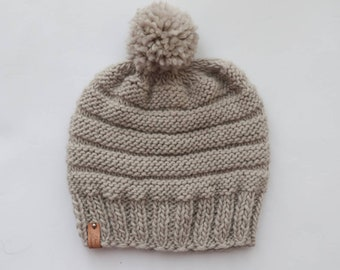 dfc9e4a94a7 Handmade beanie   Hand knitted hat   Beige Wool beanie   Women s beanies    Gift ideas