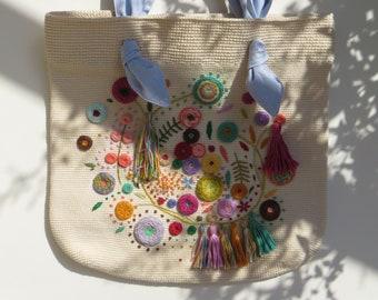 Crochet Bag | Hand embroidery | Grey Tote | Tote bag | Beach bag | Summer bag | Grocery bag | Shopping bag | Free Shipping Worldwide