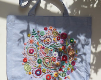 Hand embroidery | Grey Tote | Tote bag | Beach bag | Summer bag | Grocery bag | Shopping bag | Free Shipping Worldwide