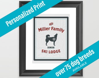 Dog Print Ski Lodge Decor | Mountain Theme | Over 75 Dog Breeds Available | Housewarming Gift