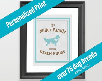 Dog Print Beach House Decor | Nautical Theme | Over 75 Dog Breeds Available | Housewarming Gift