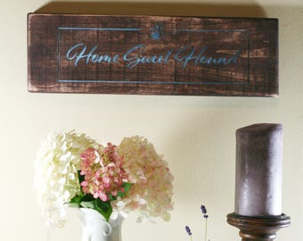 Home Sweet Hound Engraved Wooden Sign | Dog Signs | Home Decor for Dog Lovers
