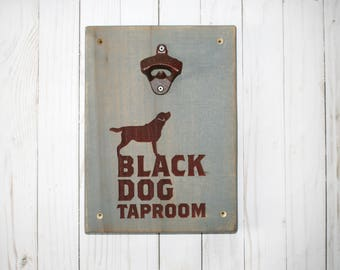 Labrador Retriever Wall Mounted Bottle Opener | Black Dog Decor | Wood Engraving | Rustic Man Cave Gift