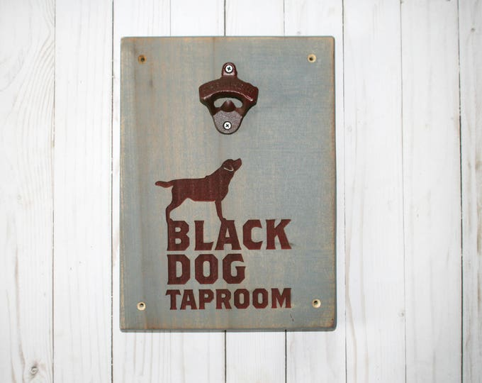 Featured listing image: Labrador Retriever Wall Mounted Bottle Opener | Black Dog Decor | Wood Engraving | Rustic Man Cave Gift