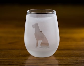 Boxer Stemless Wine Glass Set  | Birthday Gift for Dog Lover | Housewarming Present | Wine Drinker Gift | Customizable Glassware