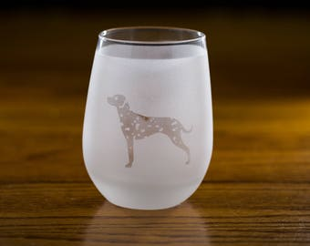 Dalmatian Stemless Wine Glass Set | Birthday Gift for Dog Lover | Housewarming Present | Wine Drinker Gift | Customizable Glassware