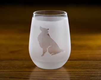 Rough Coated Collie Stemless Wine Glass Set | Birthday Gift for Dog Lover | Housewarming Present | Wine Drinker Gift | Custom Glassware