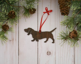 Customizable Basset Hound Christmas Tree Ornament | Personalized Dog Ornament