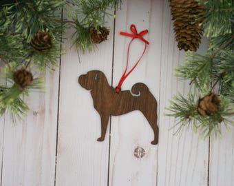 Customizable Shar Pei Dog Christmas Tree Ornament | Personalized Dog Ornament