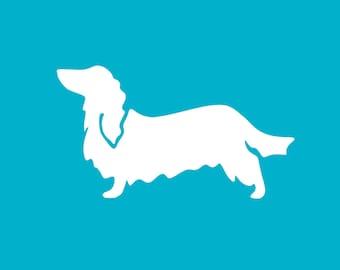 Long-Haired Dachshund Car Decal | Dog Breed Sticker | Dog Silhouette | Laptops | Tumblers | Boats | Trucks | I Love My Dachshund