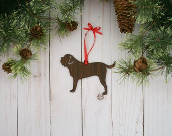 Customizable English Mastiff Christmas Tree Ornament | Personalized Dog Ornament