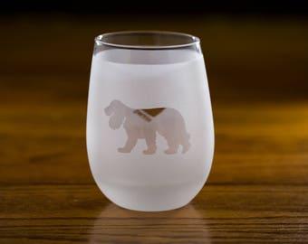 Cocker Spaniel Stemless Wine Glass Set  | Birthday Gift for Dog Lover | Housewarming Present | Wine Drinker Gift | Customizable Glassware
