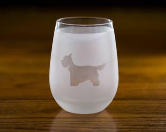 Westie Stemless Wine Glass Set | Birthday Gift for Dog Lover | Housewarming Present | Wine Drinker Gift | Customizable Glassware