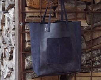 Blue leather shopper