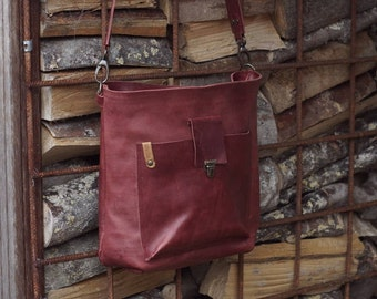 Shoulderbag red leather / red leather ladiesbag