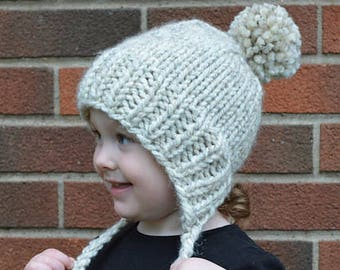 c7646bd1b2a Split Brim Hat Pattern - Hat Knitting Pattern - Super Bulky Yarn - Baby