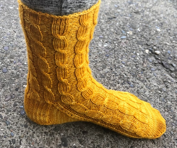 Cabled Sock Knitting Pattern Pdf Midas Socks Etsy