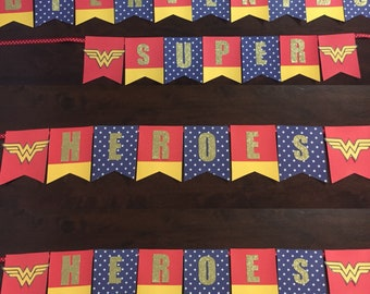 Wonder Woman Happy Birthday Banner// Wonder Woman Party Birthday Banner