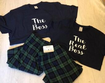 06e6207c97 The Boss PJS, His & Hers Pjs, Tartan Pyjamas, gift, bride to be, couple PJ  Set, couples set, matching pjs, personalized set
