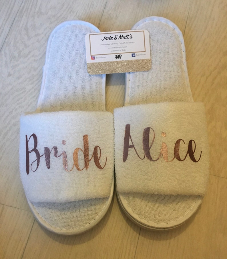 d8bf3af9d15fa3 Bride slippers Wedding Morning Slippers Personalised spa
