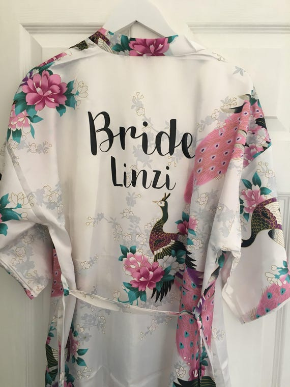 e079872f95 Personalised robe bride robe floral personalized satin