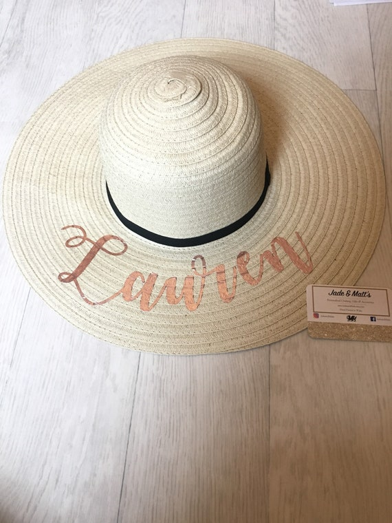 Personalised sun hat Name hat holiday bride floppy hat  165b9dea978