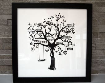 Personalised family tree papercut, personalized gift, custom made, handmade, family names, gift for mom