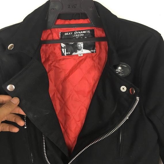 90 s Punk SEXY DYNAMITE LONDON LONDON DYNAMITE veste fermeture à glissière couleur noire Vintage Rare taille S d19f9f
