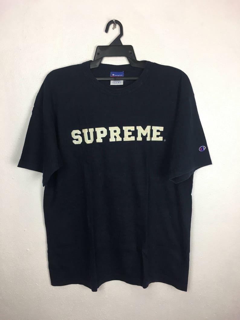 f64ab760b877 Super Rare Supreme X Champion Vintage Tshirt Vintage | Etsy