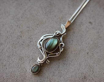 Sterling silver 925 statement dainty fashion modern necklace Blue labradorite gemstone moon jewelry Gift mom daughter Unique pendant tear