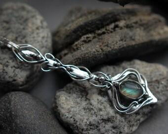 Sterling silver 925 necklace statement dainty fashion modern rainbow labradorite gemstone moon jewelry Gift mom daughter Unique pendant tear