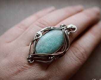Nickel silver amazonite wide ring Nature jewelry Elven ring Wire ring Victorian ring Evening ring Blue fantasy ring Women elf Ring for her