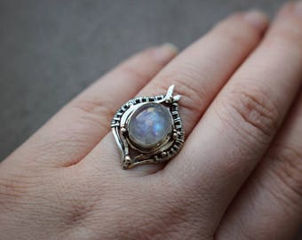 Silver solitaire wire wrapped crystal ring Beauty gift wife her Moonstone gemstone moon jewelry Sterling 925 Metal flower Fantasy inspired