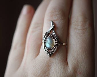 Silver wire solitaire ring Goddaughter beauty wife gift Metal flower Labradorite jewelry gemstone Sterling 925 Wrapped Fantasy inspired