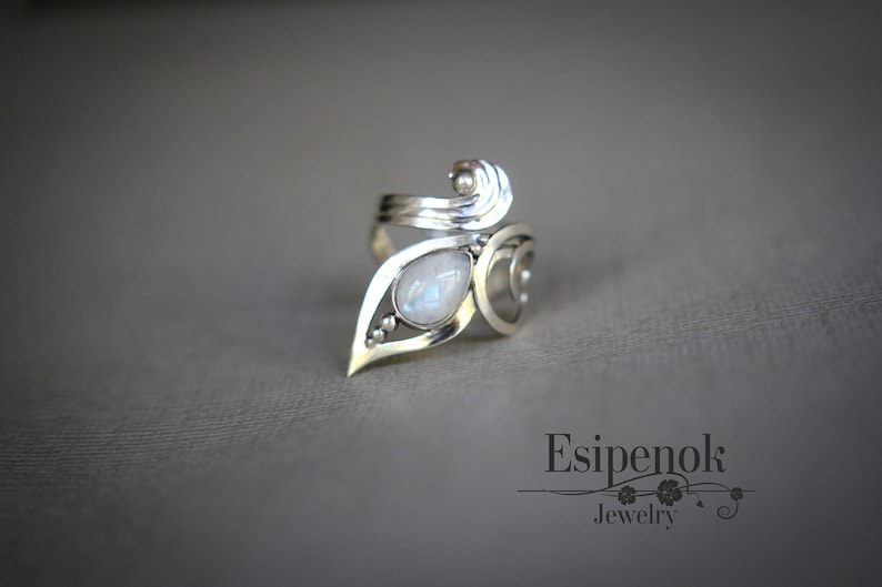 Silver adjustable wire wrapped ring Beauty gift for wife image 0