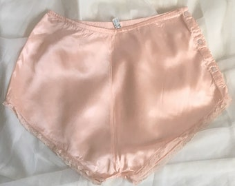 b456cd677573 Vintage 1930's Tap Pants | Pink Rayon Satin with Lace & Button Up Hip |  Treasures of Paris | Size XS