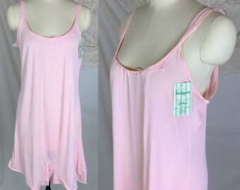 8389d51da79 Vintage 1950's Teddy Romper | Silky Bubblegum Pink Celanese with Adjustable  Chest | Munsingwear -New with Tags | Size XL