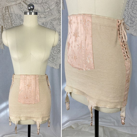 Vintage 1940's Girdle | Creamy Nude Knit with Pink
