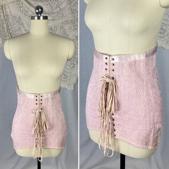 Vintage 1940's Corset Girdle | Light Pink Quilted