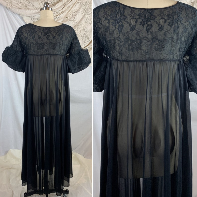 Vintage 1960/'s Peignoir Robe Size M Sheer Black Nylon with Floral Lace Puffed Sleeves /& Masquerade Mask Applique Eye Ful by the Flaums